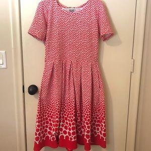 Red Polka Dot Ombré LuLaRoe Amelia Pocket Dress- L